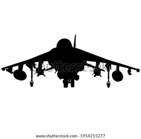 Detailed vector illustration of an British military Royal Air Force, navy aircraft the Harrier jump jet from McDonnell Douglas AV-8b. Realistic silhouette Vertical Take-Off and Landing Harrier jet. Stok fotoğraf ©