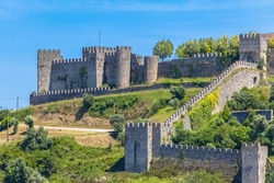 Detailed view at the Montemor-o-Velho Castle and fortress, a iconic medieval castle, iconic Romanesque and Gothic style