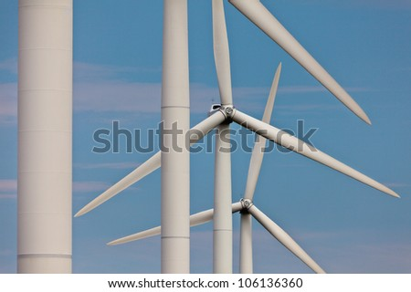 Detailed view of a row of wind turbines