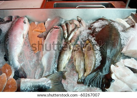 Detailed view of fish displayed at a fish market in Bergen - stock photo