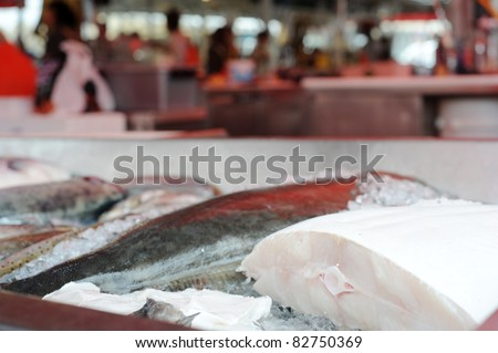 Detailed view of fish displayed at a fish market in Bergen