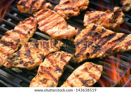 Detailed view of grilled chicken