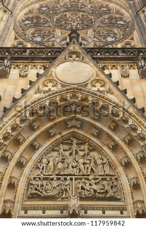 Detailed view of portal of Cathedral of st. Vitus (Prague, Czech Republic)