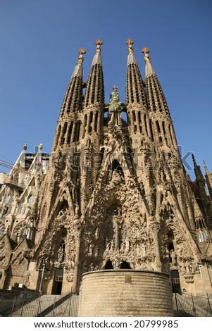 Detailed view of Sagrada Familia; great work of Antonio Gaudi - stock photo