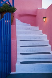 Detailed view of steps outdoors and light brightly colored