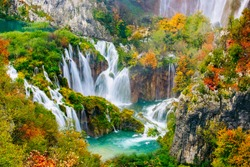 Detailed view of the beautiful waterfalls in the sunshine in Plitvice National Park, Croatia
