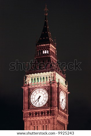 "Detailed view of the clock tower of Westminster Palace, often referred to as ""Big Ben"""