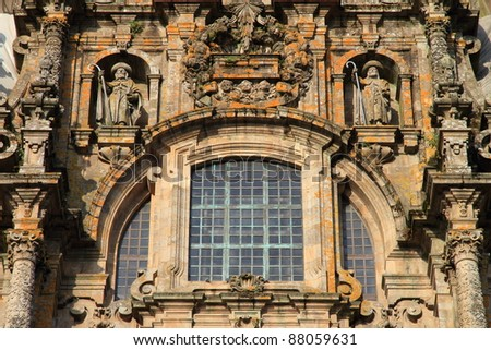 detailed view of top of Cathedral of Santiago de Compostela. The final destination for pilgrims walking along the world famous camino de santiago