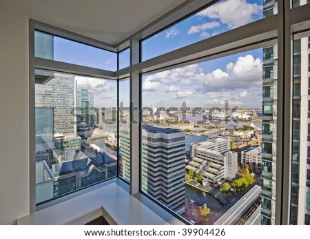 detailed view through floor to ceiling double glazed window