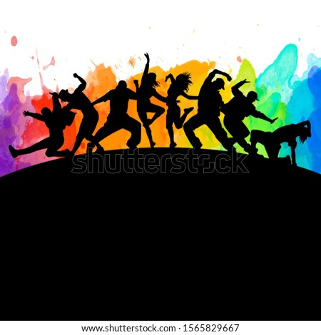 Detailed watercolor illustration silhouettes of expressive dance colorful group of people dancing. Jazz funk, hip-hop, house. Dancer man jumping on white background. Happy celebration Сток-фото ©