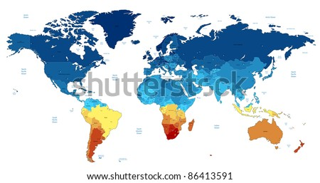 Detailed World map of blue and yellow colors. Raster version. Vector version is also available. #86413591
