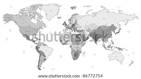 Detailed World map of gray colors. Raster version. Vector version is also available.
