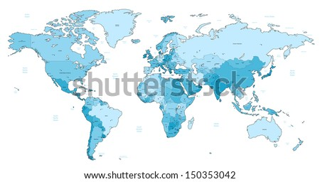 Detailed World map of light blue colors.
