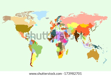 Detailed  World map of rainbow colors. #173982701