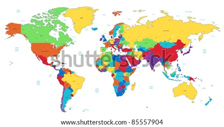 Detailed World map of rainbow colors.