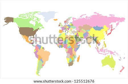 Detailed  World map of rainbow colors. Names, town marks and national borders are in separate layers.