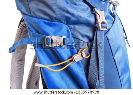 Details and fasteners straps on a Hiking backpack, Studio shot #1335978998