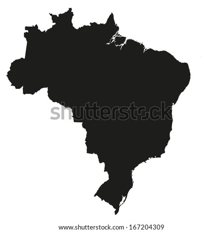 Details Black and White Country Shape of Brazil