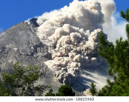 Details hot cloud of volcanic eruption in Java  island, Indonesia