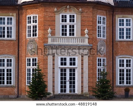 Details of a big beautiful mansion house estate door entry Funen Denmark