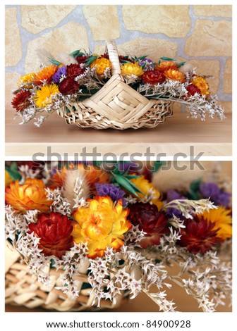 details of a bouquet of dried flowers