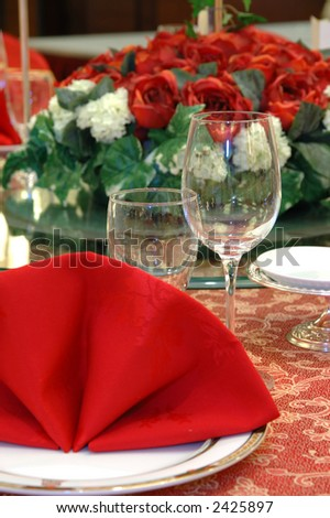 stock photo Details of a chinese wedding banquet table setting
