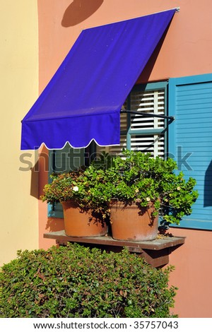Details of a colorful restaurant with French accents