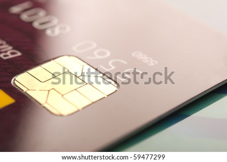 Details of a credit card with chip and numbers