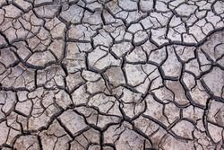 Details of a dried cracked earth soil.