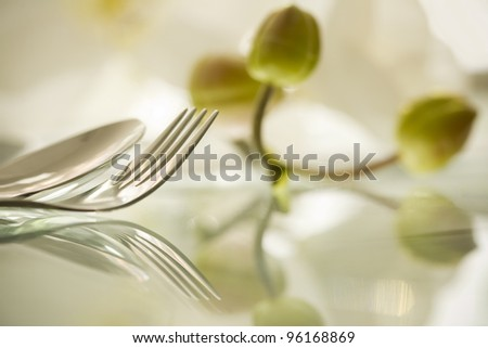 Details of a fork and spoon on reflecting surface with orchid bud.