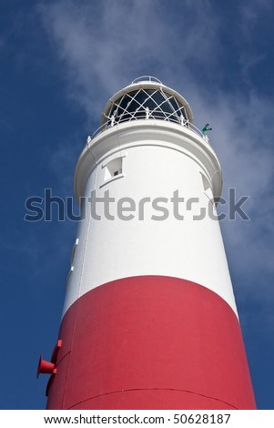 Details of a light house by Portland Weymouth in Dorset England background in blue sky