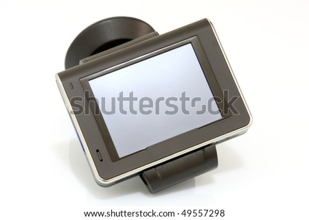 Details of a modern GPS isolated on white