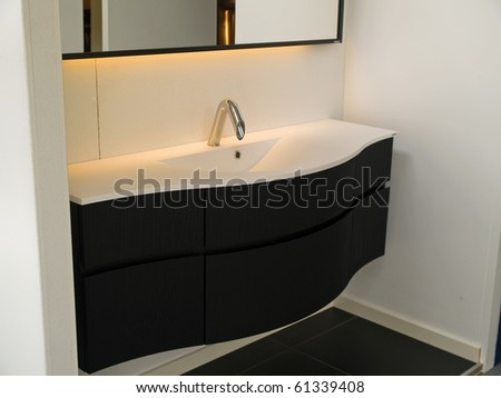 Details of a modern trendy contemporary designer bathroom