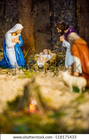 Details of a Nativity scene in a church