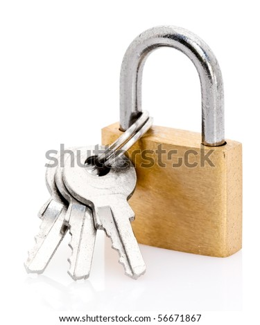 Details of a padlock and keys on a white background.