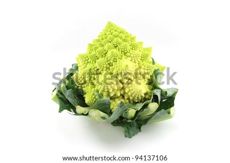 details of a romanesco broccoli isolated on white
