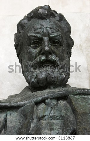 Details of a statue of Alexander Graham Bell: inventor of the telephone, taken in Brantford, Ontario, Canada, where the telephone was invented. Statue was sculpted by Walter S. Allward. - stock photo