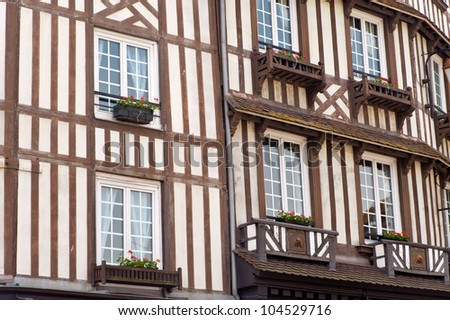 Details of a typical half timbered house in Normandy - France