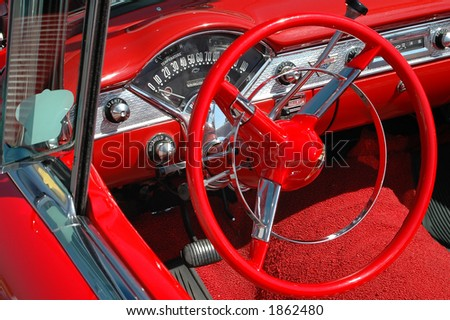 Details of a vintage convertible car