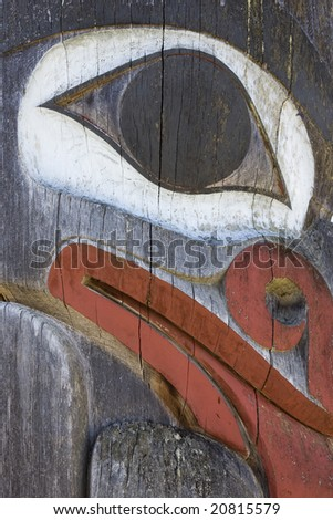 Details of a west coast totem pole.