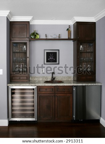 Details of a wet bar in modern house  The picture on the wall is my own image #2913311