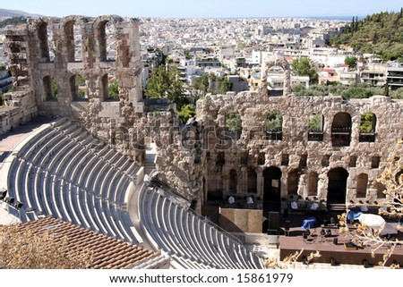 details of acropolis theater, Acropolis in Athens â?? Greece - stock photo