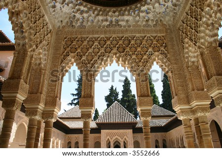 Details of Alhambra palace in Granada, Andalusia, Spain