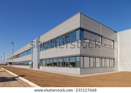 details of aluminum facade and aluminum panels on industrial building #235127668