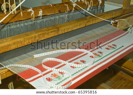 Details of an ethnic minority hand loom weaver, Epirus, Greece
