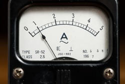 Details of an old black analog ampere meter, scale and indicator