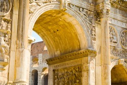 Details of Arch of Constantine, triumphal arch in Rome, Italy