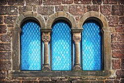 Details of blue window of old castle in Eisenach, Germany
