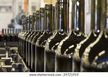 Details of bottles of wine in a bottling plant