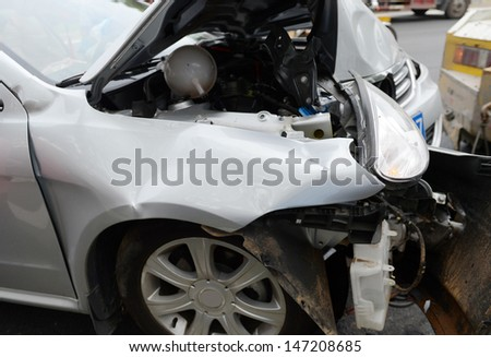 Details of car head in an accident.